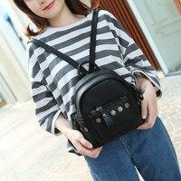 New Trendy College Wind Backpack Women Good Quality Rivet School Backpacks Leather Shoulder Bag Mochila Escolar