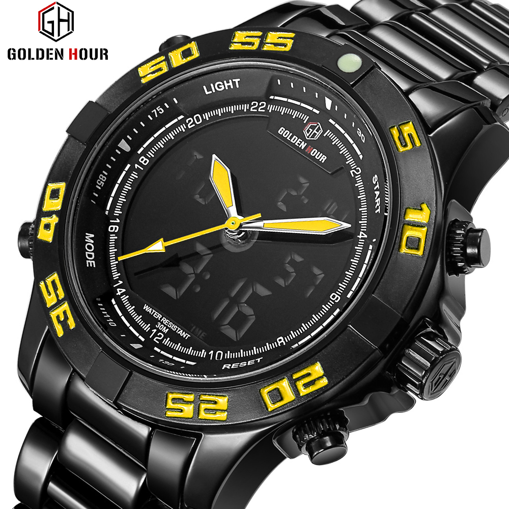GOLDENHOUR Top Luxury Brand Men fashion Quartz Analog Outdoor Steel Sports Watches Army Military Male Clock Relogio Masculino weide watches men top brand fashion watch quartz stainless steel band male clock relogio masculino army sports analog casual