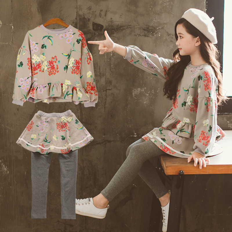 New Fashion Autumn Winter Girls Floral Blouse+Skirt Pants Long Sleeves Children Sets Clothing For 5,6 7 8 9 10 12 Years Girls long sleeves guipure hollow out blouse