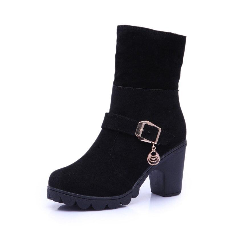 2017 Women High Heel Winter Boots Female Flock Plush Martin Snow Ankle Boots Wedges Warm Slip