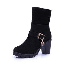 2017 Для женщин на высоком каблуке зимние сапоги женские флоковые плюшевые Martin Ботильоны клинья теплые тапочки на Bottes