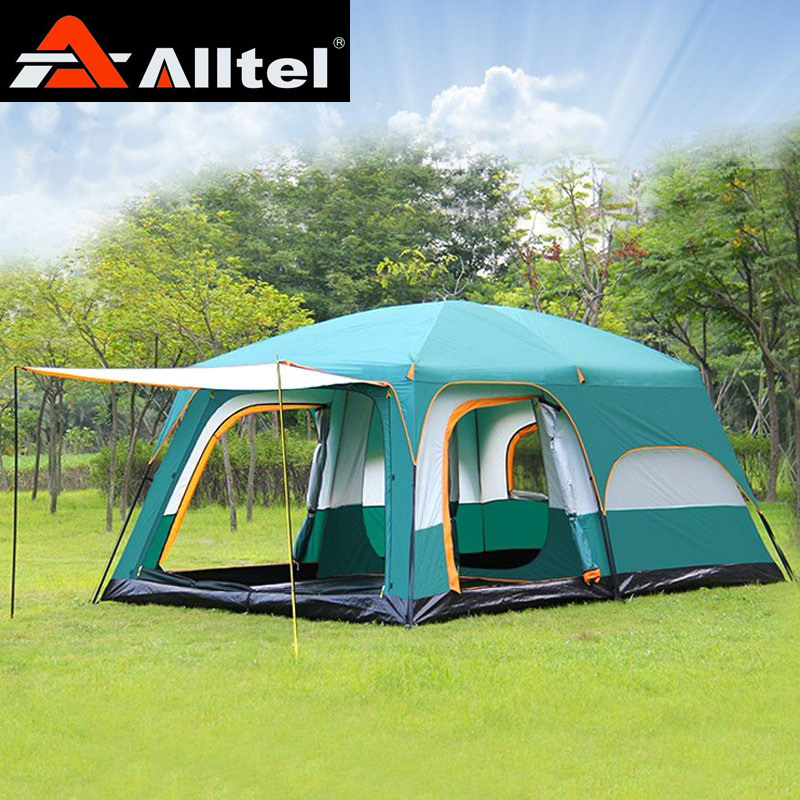 Alltel Ultralarge 6 10 12 double layer outdoor 2living rooms and 1hall family camping tent high quality outdoor 2 person camping tent double layer aluminum rod ultralight tent with snow skirt oneroad windsnow 2 plus