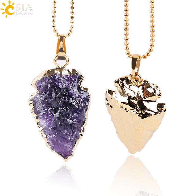 Csja natural purple rock crystal quartz arrowhead necklaces csja natural purple rock crystal quartz arrowhead necklaces pendants reiki gem stone electroplated gold color aloadofball Gallery