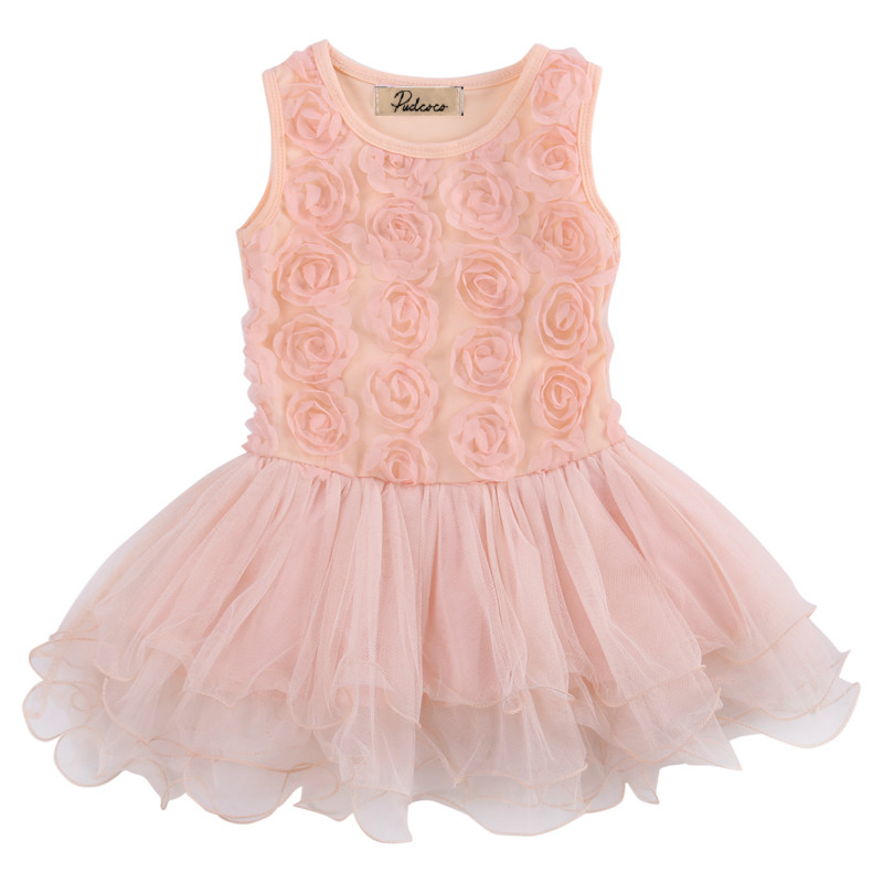Cute Toddler Baby Girls Kids Princess Rose Flower Lace Layered Tutu Gown Fancy Dresses Mini Party Wedding Pageant Dress Sundress