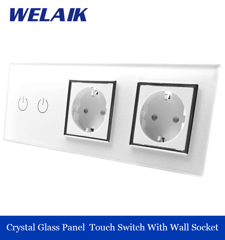 WELAIK 3 frame Crystal Glass Panel  White Black Wall Switch EU Touch Switch  Wall socket 2gang1way AC110~250V A39218E8EW/B 1 way 3 gang crystal glass panel smart touch light wall switch remote controller white black ac 100 250v