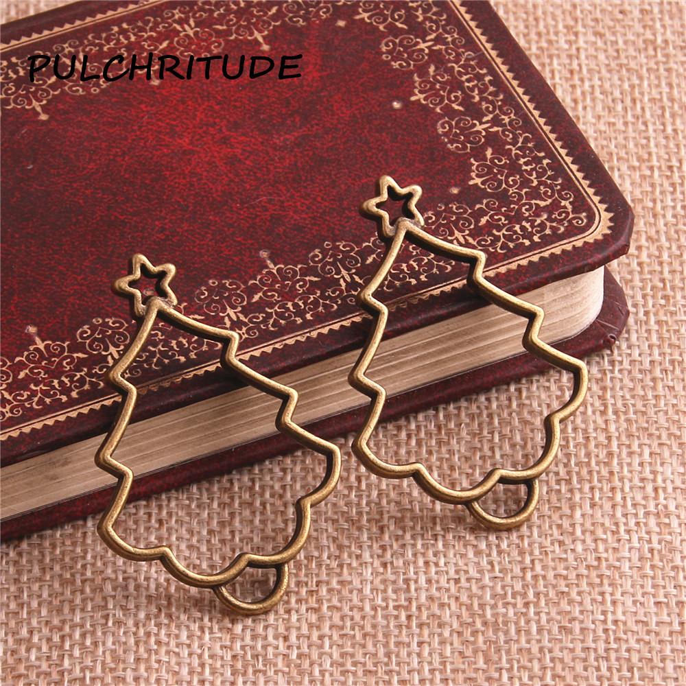 PULCHRITUDE 12pcs/lot Zinc Alloy Antique Bronze Cristmas Tree Shape Hollow Charm Pendant Bezle Tray Diy Jewelry Making c2145