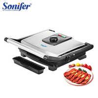 Grelhador de churrasco eletrodomésticos máquina de churrasqueira elétrica hotplate sem fumaça grelhada carne pan contato grill sonifer