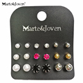 [Marte&Joven] 9 Pair /Set New Fashion Style Circular Simulated-pearl Stud Earrings Set For Women Colorful Gift Wholesale
