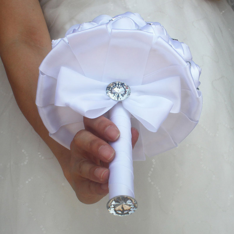WifeLai-A Cheap Pure White Silk Wedding Bouquet with Silver Gem,New Pure Color White Bridal Flower,Bowknot Holding Bouquet W323