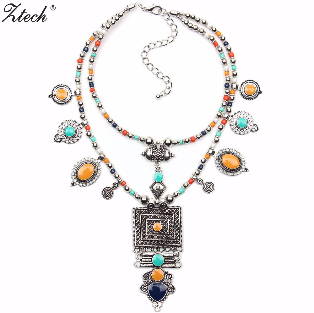 Ztech Boho Collar Choker Necklaces Vintage Ethnic Bohemia Beads Neck Statement Jewelry Necklace For Fashion Women 2018