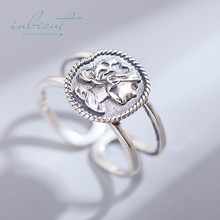 inbeaut 925 Silver Vintage Female Hero Ring True S925 Ancient Respectable Queen Figure for Women Retro Wedding Jewelry