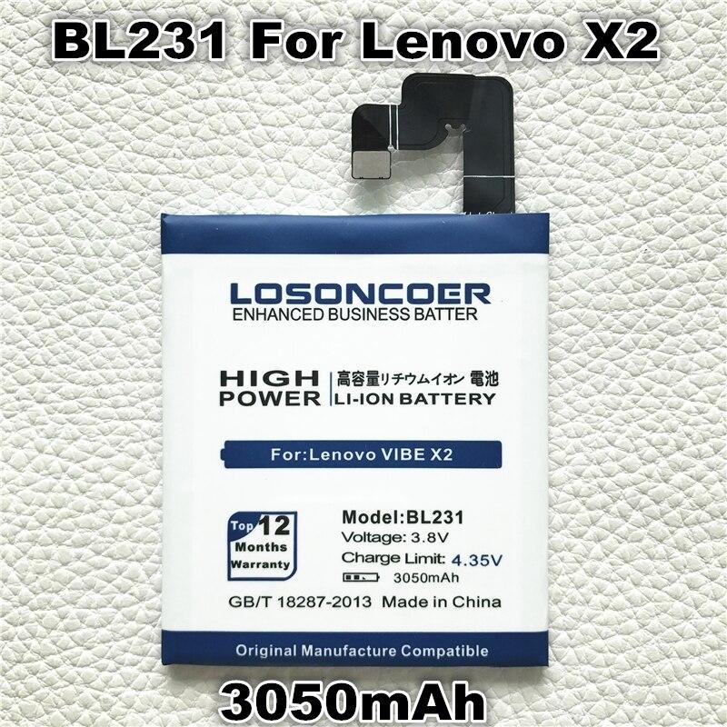 imágenes para BL231 LOSONCOER 3050 mah Para Lenovo VIBE X2 Batería X2-A X2-CU S90U S90T Phone