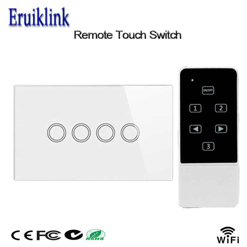 Smart Home Wall Light Switch,US Standard ,Crystal Glass Panel 4 Gang 1 Way Touch & Remote Switch Control By Broadlink Rm Pro remote wireless touch switch 1 gang 1 way crystal glass switch touch screen wall switch for smart home light free shipping