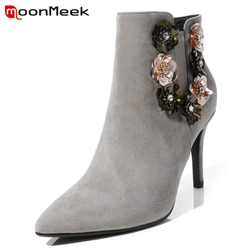 MoonMeek 2018 NEW fashion appliques ankle boots women kid suede leather boots thin high heels pointed toe zipper autumn boots floral female kid suede high heel shoes genius leather martin boots punk ankle boots thin heels women pointed toe booties