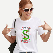 2019 summer Casual style Clothes South Side Serpents snake print t shirt women Riverdale Short sleeve Animal Print fashion tops