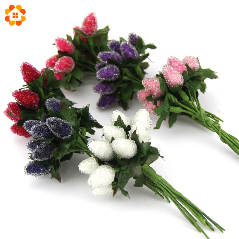 12PCS New Plastic Artificial Strawberry Flower Bouquet For Home ...