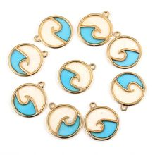 TJP 10pcs Colorful Small Round Openwork Ocean Wave Charms Pendants for Necklace Bracelet Jewelry Making Finding 23x20mm(China)