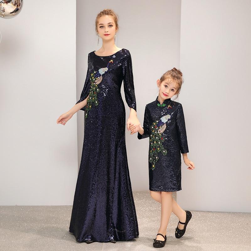 Fashion parent child show show peacock peacock blue Dress girl catwalk show evening dress piano costume 2019 new mother dress