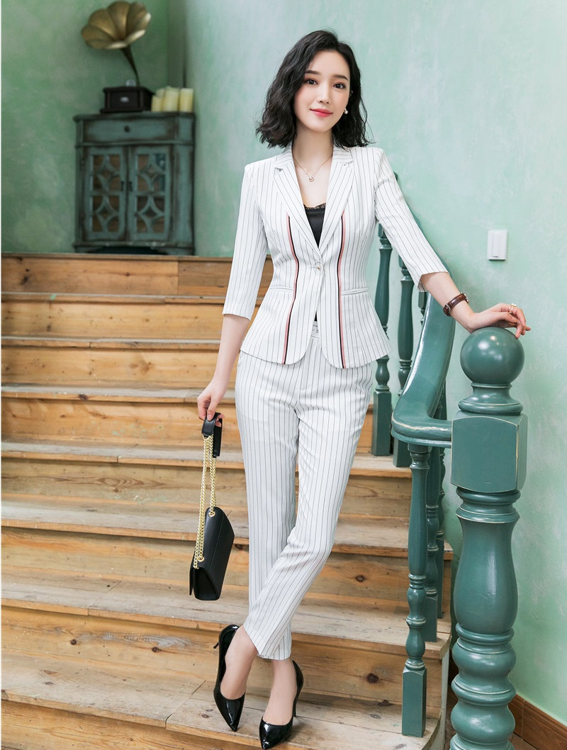 Fashion Striped Business Suit With Jackets And Pants 2019 Spring Summer Women Office Work Wear Blazers Pantsuits OL Styles