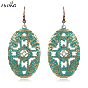 Made in China Oval Drop Earring Jewelry For Women Green Plated Lastest Earrings HY-7471