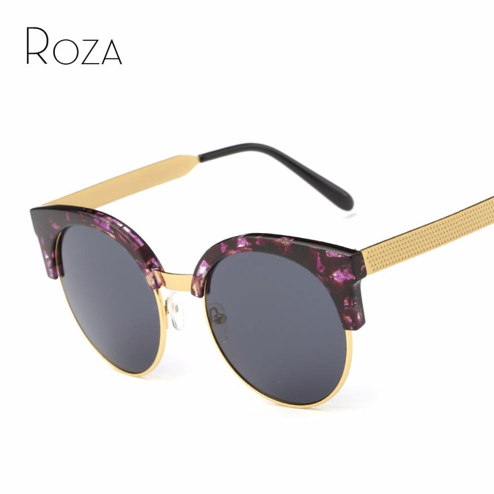 96e5fb4fd748c Roza óculos de sol das mulheres cat eye lente moldura redonda de metal  templo verão estilo da marca de luxo designer com caixa uv400 qc0400