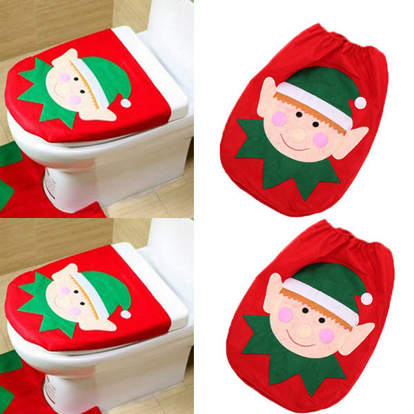 Christmas Lovely Elf Snowmen Xmas Ornaments Decoration Toilet Tank Seat Cover