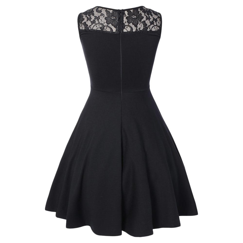 316b20e8b75be Kenancy Women Vintage Party Dress 60s Sleeveless Lace A Line Swing Skater Dress  Vestidos Cotton Audrey Rockabilly Black Dresses-in Dresses from Women s ...