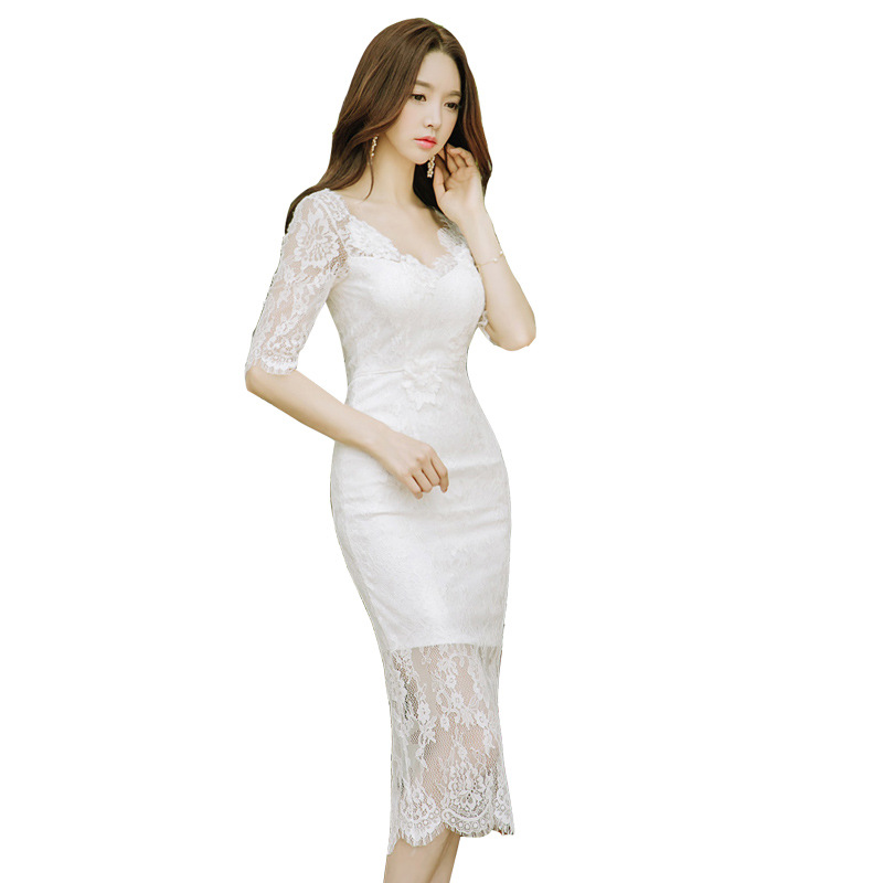Hollow Out Lace V Neck Sheath Tunic Package Hip Midi Dress Women Elegant Korean Sexy Office Party Fashion Dress Summer Sundress
