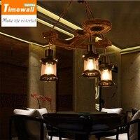 Американский стиль Промышленные ветер ретро кофе ресторан бар твердой древесины Лофт корабль деревянный якорь подвесной светильник