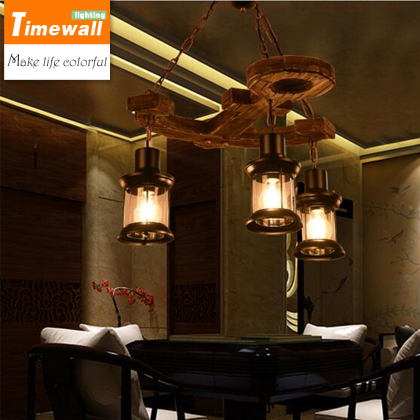American Style Industrial Wind Retro Coffee Restaurant Bar Solid Wood Loft Ship Wooden Anchor Pendant Lamp