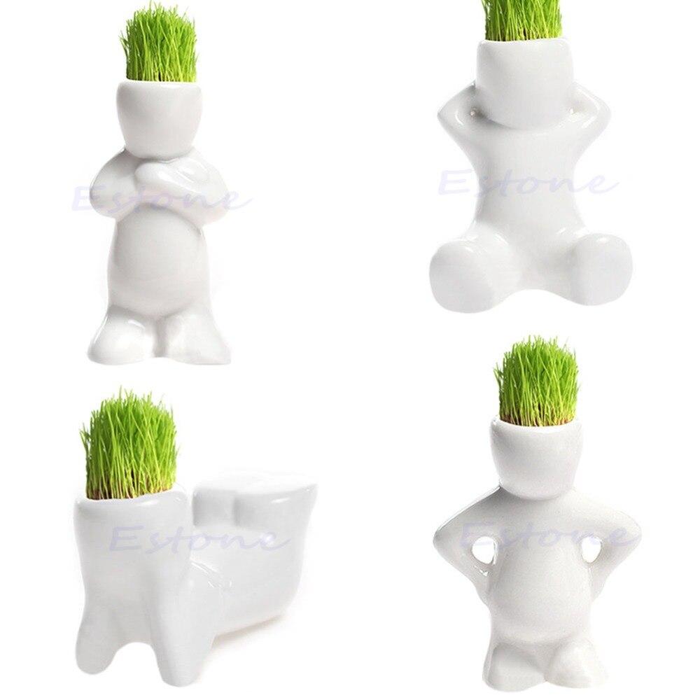 DIY Mini Novel Ceramic Porcelain Bonsai Grass Doll Hair Man Plant White  RAS