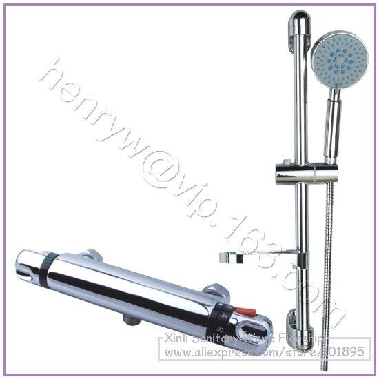 Vente en gros et au détail-robinet de douche thermostatique en laiton de luxe, avec barre coulissante, contrôle de température, livraison gratuite L15837