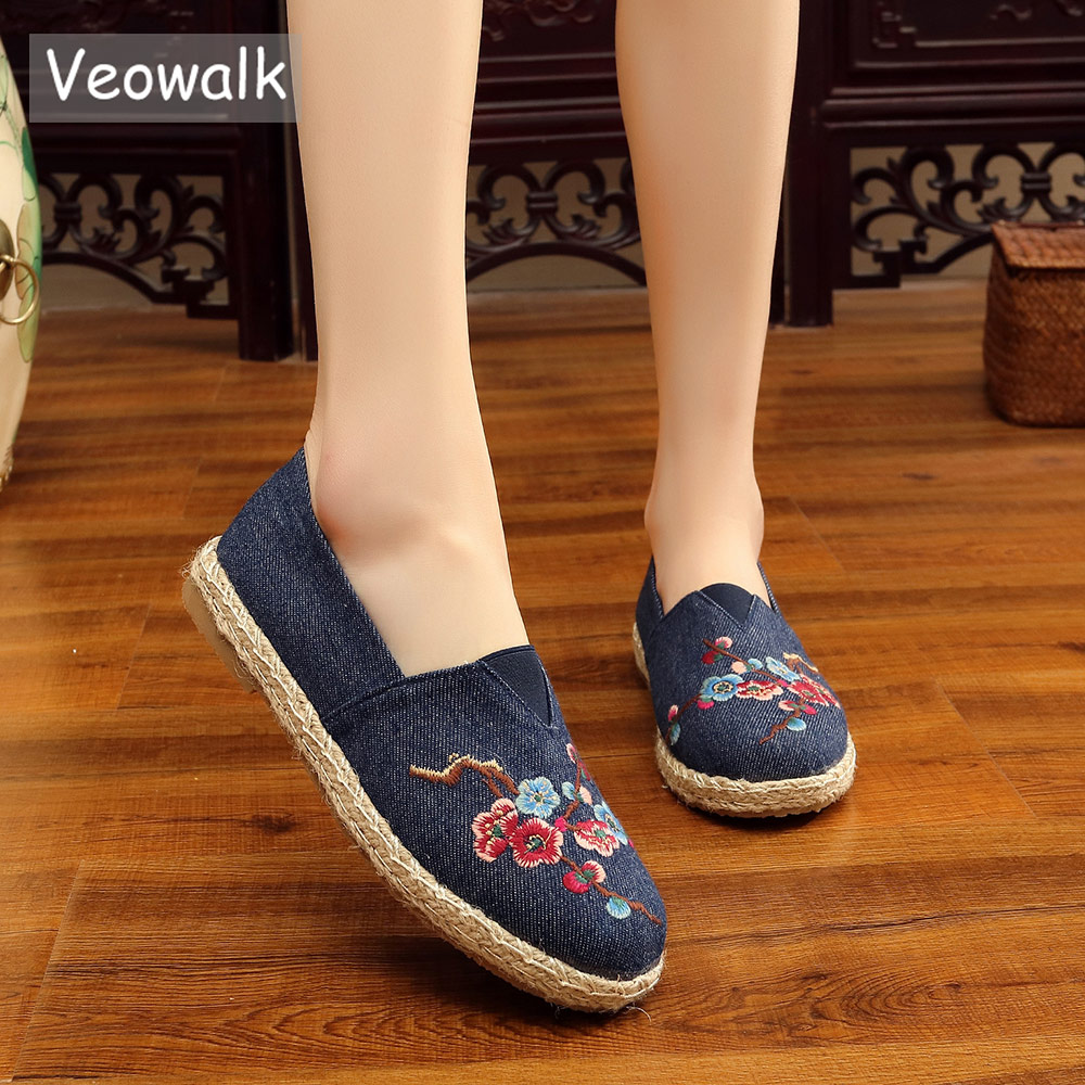 Veowalk Chinese Painting Plum Flower Embroidered Women Canvas Flat espadrilles Fashion Ladies Comfort Driving Loafers Shoes veowalk chinese painting plum flower embroidered women canvas flat espadrilles fashion ladies comfort driving loafers shoes