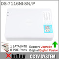 Original International Version 16CH DS-7116NI-SN/P with 8 Independent PoE For HD IP Camera Support Updating Colorful Package