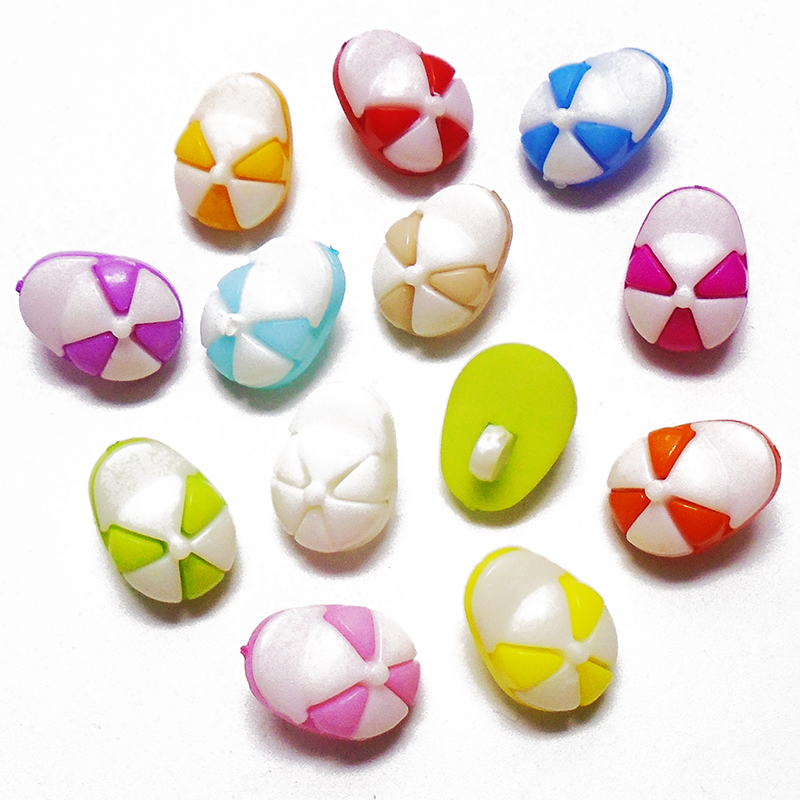 ZIEENE Mixed 100PCs 12 Colors Kids Colorful Hat Plastic Buttons Shank Sewing DIY Crafts Scrapbooking For Baby Clothes 15x11mm