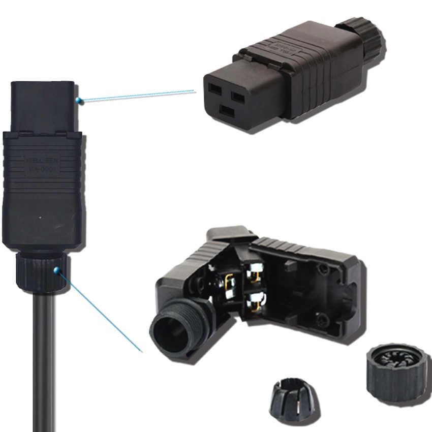 Siyah 16A CE Bakır IEC320 C19 C20 UPS PDU Güç Rewirable Bağlayıcı 3P Montaj Tel Priz Erkek Kadın Dönüştürücü soket Fişi