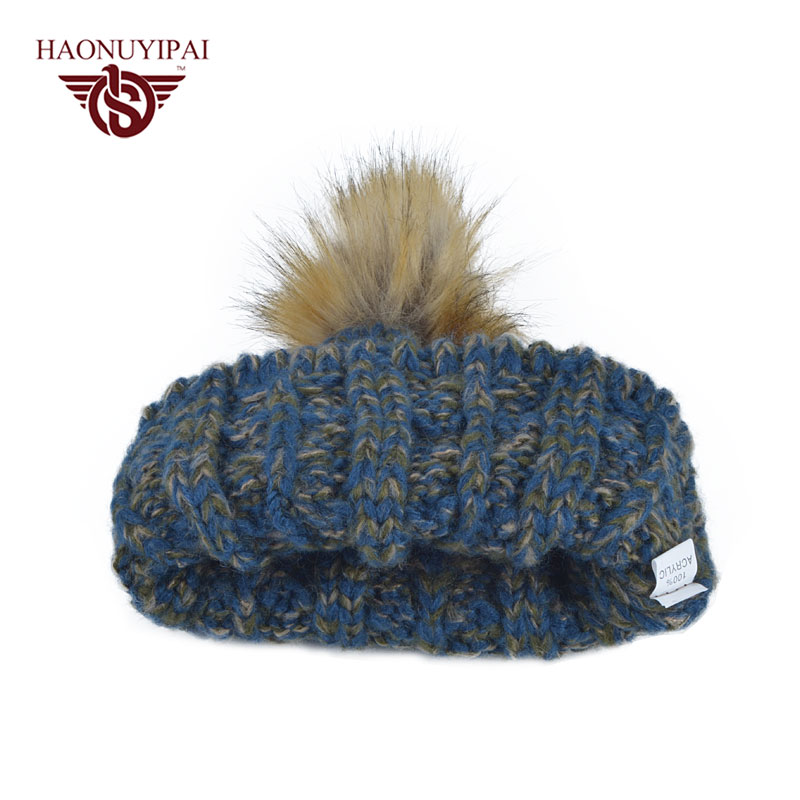 Neue Dame Ball Stricken Herbst Winter Warme Bobble Hut Frauen Cap ...