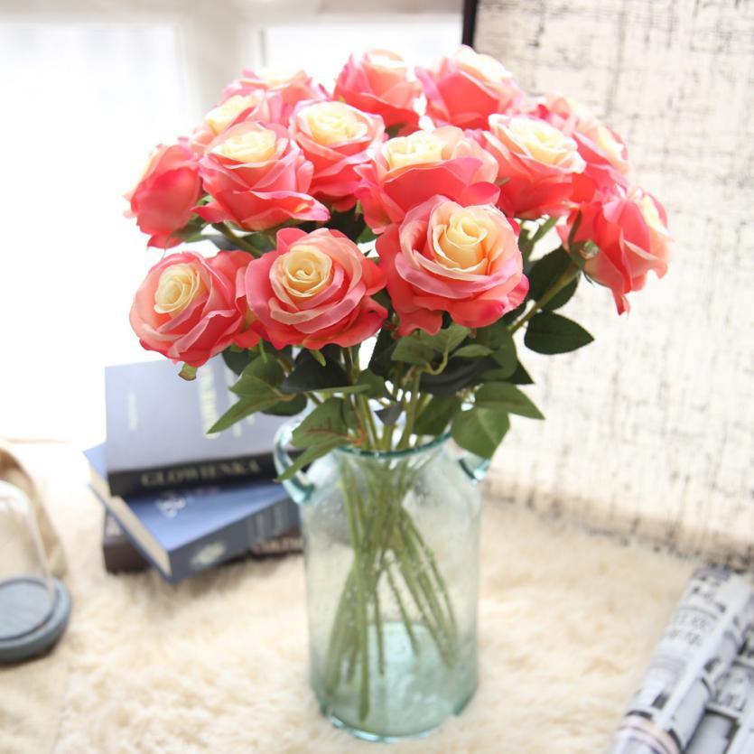 1 pc rose Flower Pretty DIY Artificial Silk Fake Flowers Leaf Rose Floral Wedding Home Decor Hot Orange Drop Shipping 2018f11