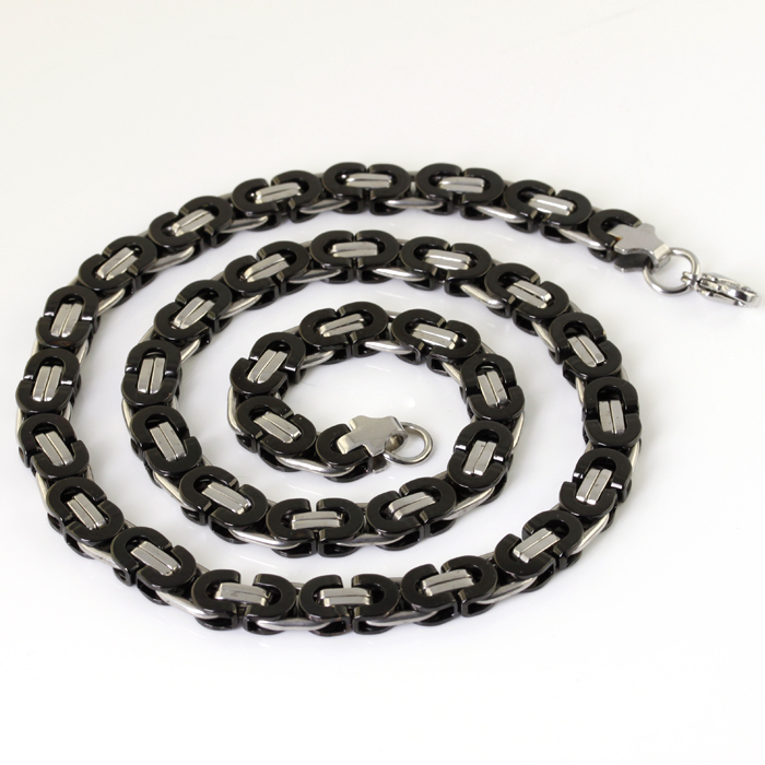 WholesaleRetail! 54cm*8mm 72g Stainless Steel Silver Black Byzantine Chains Neklace Men/ Boy, Lowest Price Best Quality