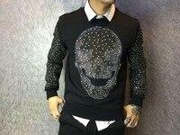 De heldere metalen boor Metroseksueel persoonlijkheid top kwaliteit mannen sweatershirt Heren hoodies westerse ontwerp YF009