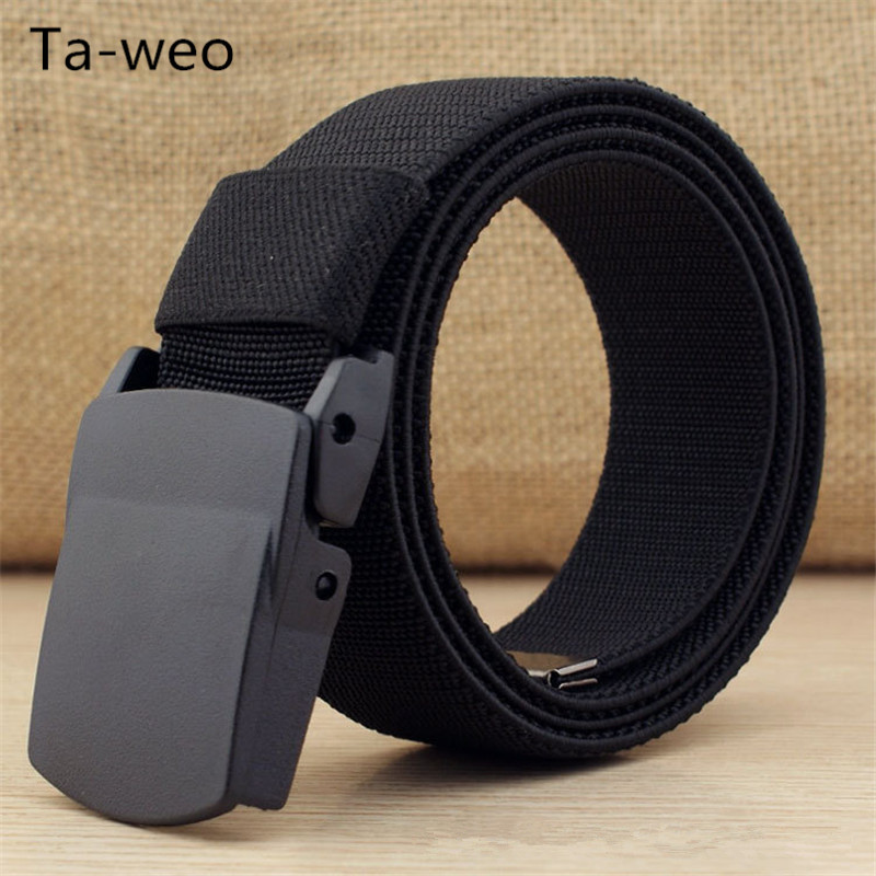 "Uformelt 1,5 ""Wide Canvas Breathable Belt, Plastic Press Buckle Belt, Mans Elastic Belt High Quality, Belt Size opp til 60 ''"