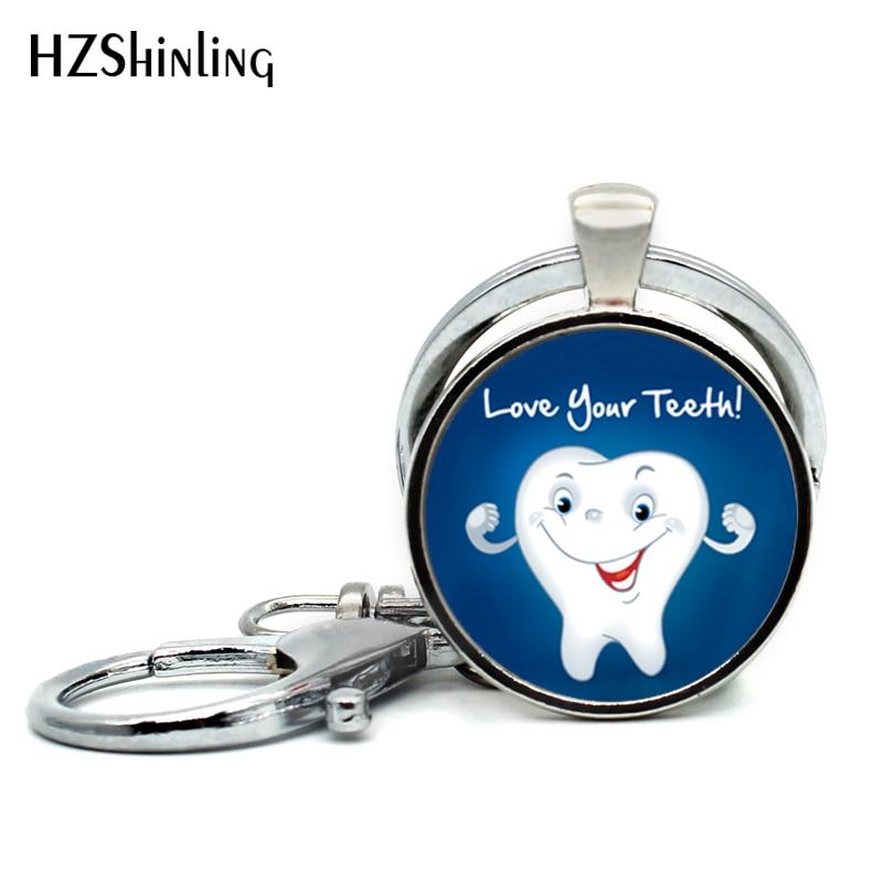 2017 New Fashion Love Your Teeth Pendant Keychain Smile Tooth Handmade Glass Dome Keychains Fashion Jewelry Glass Photo Gift