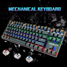 лучшая цена Ru/Us Mechanical Keyboard Blue Red Switch 87key Anti-ghosting Mix/RGB Backlit USB Wired Gaming Keyboard  For PC Laptop Pro Gamer