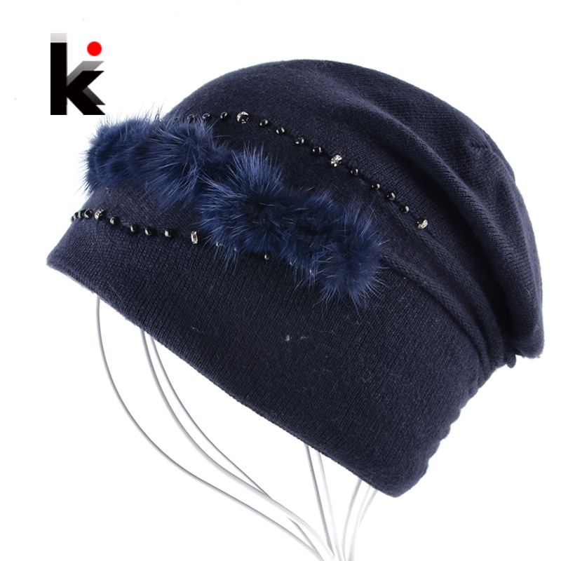 Winter Beanies Hat With Real Fur Adornment For Women Knitted Wool Cap Female Fashion Bead Chain Bonnet Touca Lady Skullies Muts the new children s cubs hat qiu dong with cartoon animals knitting wool cap and pile