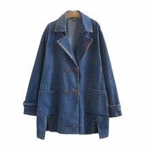 2019 Spring autumn denim trench coat women fashion Large siz