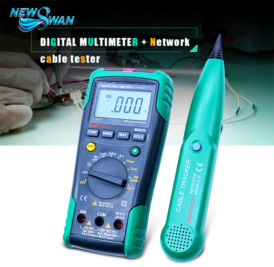 MS8236 Digital Multimeter Netwoek Cable Tester Net Cable Tracker Tone Telephone line Check Non contact Voltage Detect