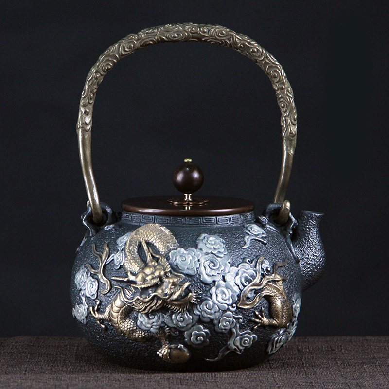 1.2L uncoated gilding pure handmade South Korea old iron pot cast iron teapots pig iron kettle teapot puer green tea yixing