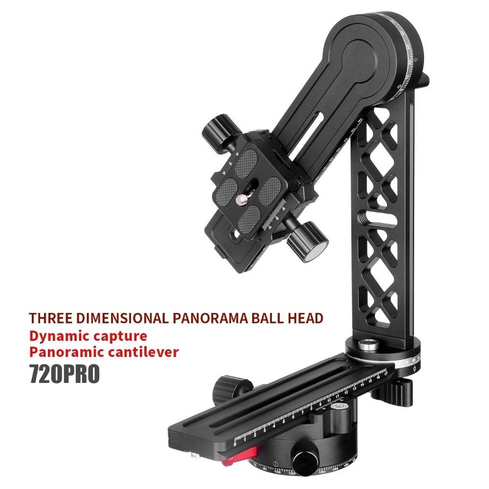 XILETU 720PRO-2 360 Alto Grau de Cobertura da Cabeça do Tripé Panorâmica Com QR Placa Estendida e Slides Nodal Ferroviário Para Câmera Digital