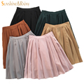 2017 новых девушек юбки плиссированные школьниц юбка униформа cos высокой талией твердые плиссированные юбки женский середина ретро загрузки замша юбка