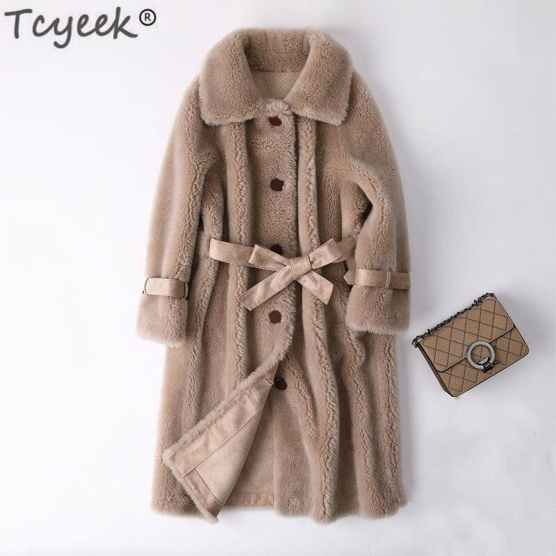 Tcyeek Real Fur Clothes Sheep Shearing Coat Women Winter Jackets Long Coats Female Slim Lamb Fur Coat Vintage Clothing LWL1354